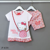 Baju Tidur Setelan Pendek Pendek Hello Kitty P-654 / H size 14-16-18 - Size 14