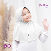 Jilbab/Hijab Anak Putih Usia 2 3 4 5 6 7 8 9 10 11 12 13 14 15 tahun