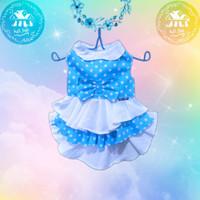baju kucing dan anjing betina dress lucu murah dan bagus polkadot biru