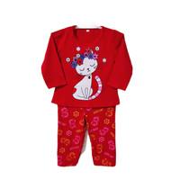 setelan anak perempuan/baju tidur anak cewek 1-8th kucing - Merah, S