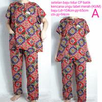setelan baju tidur cp standar batik kencana ungu label merah KUM