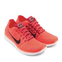 Sepatu Nike Free RN Flyknit Bright Crimson Red Mango Original Resmi