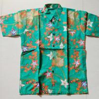 Baju Second Kemeja Batik Anak Remaja Cowok Fit 10-13 Th Hijau
