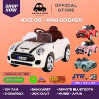 Mainan Mobil Aki Anak Mini Cooper DLS 06 KYZ 06 JOK KULIT BAN KARET