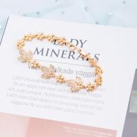 [Andy butik] Gelang wanita gelang batu permata berlapis emas/A-85 - Emas
