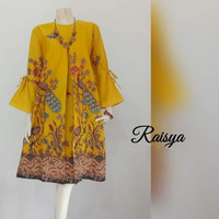 Baju Wanita Tunik Terbaru Motif Batik Raisya Kuning