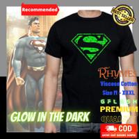 Baju Kaos Glow in the Dark Superman Bata Superhero M-XXXL Rhymes