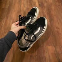 Sepatu Vans Old Skool Grey Black White (Black Laces)