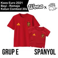 Kaos Euro Naked & Free Grup E (Spanyol) Untuk Bayi-Remaja Bahan Katun - MERAH (SPANYOL), 6-12 BULAN