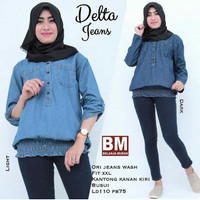 Atasan Wanita Lengan Panjang Jumbo LD 110 Busui Jeans Wash Biru