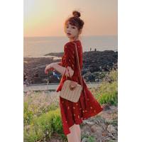 Casual dress wanita fashion korea masa kini motif buah / D043 - Merah