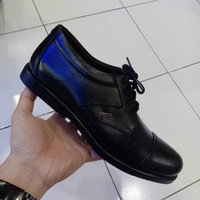 sepatu pria boots kulit asli semi pantofel bally-215 Hitam - Hitam, 38