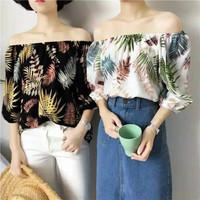 Off Shoulder Sabrina Top Atasan Baju Pantai Karet Wanita Motif Daun - Navy