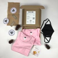PAKET COUPLE KAOS POLOS Paperplane Clothes - Warna Baby Pink