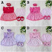Baju Dress Tutu Bayi Newborn 0-3 bln Perempuan Meow Cat Bandana Sepatu