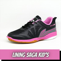 sepatu badminton anak lining saga kids hitam pink bulutangkis wanita