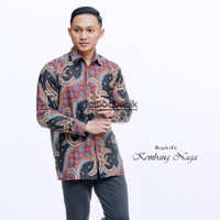 Batik Pria Kembang Naga - Kemeja Batik Pria Lengan Panjang Baju Batik - M