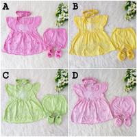 Baju Dress Bayi Newborn 0-3 Bln Perempuan Bandana Sepatu Akikah Aqiqah