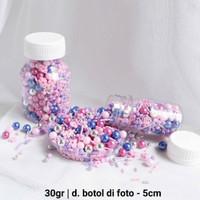 Topper Kue Sprinkle Mutiara Hiasan Kue Ulang Tahun Mutiara Pink Ungu