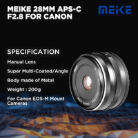 Meike 28 MM APS-C F2.8 For Canon Mirrorless