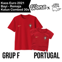 Kaos Euro Naked & Free Grup F (Portugal) Untuk Bayi-Remaja Bahan Katun - Merah Portugal, 6-12 Bulan