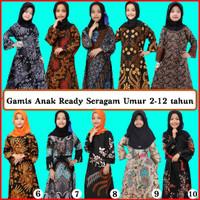Baju gamis anak perempuan Muslim batik kids umur 2 sampai 12 tahun