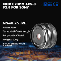 Meike 28 MM APS-C F2.8 For Sony Mirrorless
