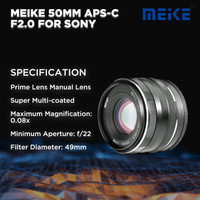 Meike 50 MM APS-C F2.0 For Sony Mirrorless