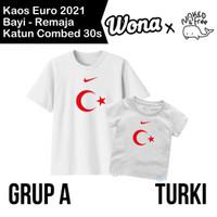 Kaos Euro Naked & Free Grup A (Turki) Untuk Bayi-Remaja Bahan Katun - Putih (Turki), 6-12 Bulan