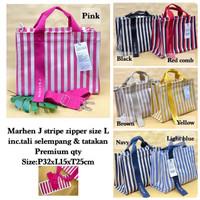 Tas Marhen J Stripe Zipper / Slempang / Selempang / Sling Bag / Kanvas