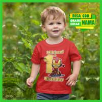 Baju Kaos Ulang Tahun Iron Man Anak laki laki Cowok Gratis Cetak Nama