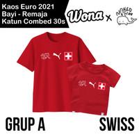 Kaos Euro Naked & Free Grup A (Swiss) Untuk Bayi-Remaja Bahan Katun - Merah (Swiss), 6-12 Bulan