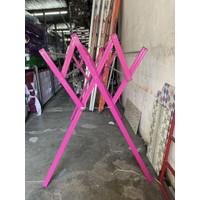 BATIK - Jemuran Baju / Pakaian Aluminium Garis Pink - 175 CM / 1,75 M