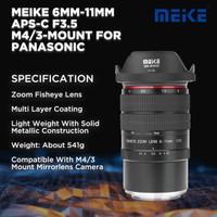 Meike 6-11mm f3.5 Fisheye Lens for Panasonic