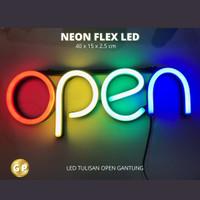 LED Lampu OPEN Gantung Neon Flex Lampu neon tulisan OPEN Warna-warni
