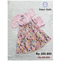 Gamis Anak Ayita Set | Gamis Anak | Baju Muslim Anak | Baju Rok Anak - 2-3 tahun, 863 Pink