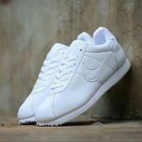 sepatu putih polos pria wanita nike cortez putih ukuran 36 - 43 - Putih Polos, 36