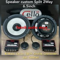 Speaker Split 2way Midbass Cello TG17 dan Custom crossover 2way+Tw