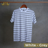 Advictor Kaos Stripe Model BB CVC Cotton 60 Lengan Pendek - White - Grey, S