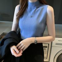 [Mini Mall] 103 Stylise Pakaian Wanita Turtleneck tanpa lengan T-shirt