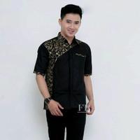 Baju Hem Kemeja Kombinasi Batik Pria Lengan Pendek Motif Terbaru - Hitam, M