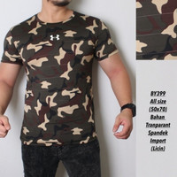 kaos Army pria / baju olahraga gym fitnes loreng camo