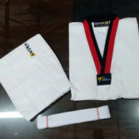 Baju Taekwondo Kwon Club Kerah Merah Hitam