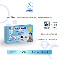 Masker Ateja - Premium - Masker Anak - Kid's Mask (1 box isi 5 pcs)