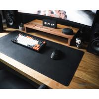 Desk Mat Mouse Pad Besar 40x80cm Fiber Leather Kulit Hitam & Cokelat