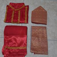 baju adat anak palembang sumatera selatan laki L - Merah, M