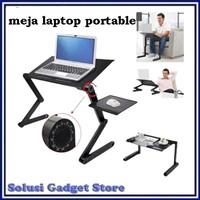 Meja Laptop Portable Aluminium Lipat With Cooler Fan