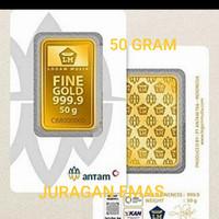 50 GR (GRAM) PRESS LOGAM MULIA/LM/EMAS BATANGAN ANTAM SERTIFIKAT BARU