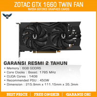 ZOTAC GTX 1660 TWIN FAN 6GB DDR5 VGA NVIDIA GEFORCE GAMING GTX1660