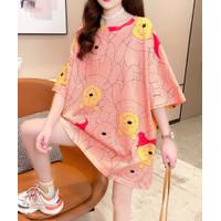 Cotton Tee Style Jepang Model Semi Dress Pooh And Piglet - Abu-abu